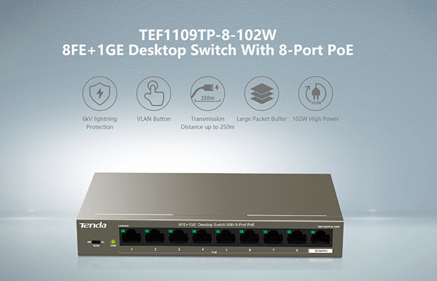 Tenda launches new 8-Port PoE Switch for IP Surveillance