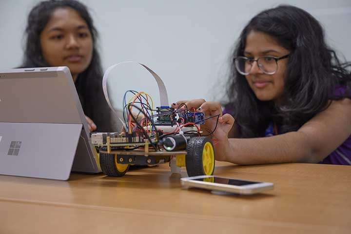 Campers at the Women in Science Girls' STEAM Camp learn