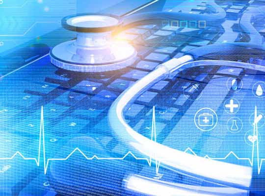 Stethoscope with computer keyboard on medical background. 3d illustration