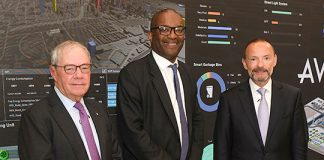 AVEVA Chairman Philip Aiken and CEO Peter Herweck with Kwasi Kwarteng, UK Secretary of State for Business, Energy & Industrial Strategy